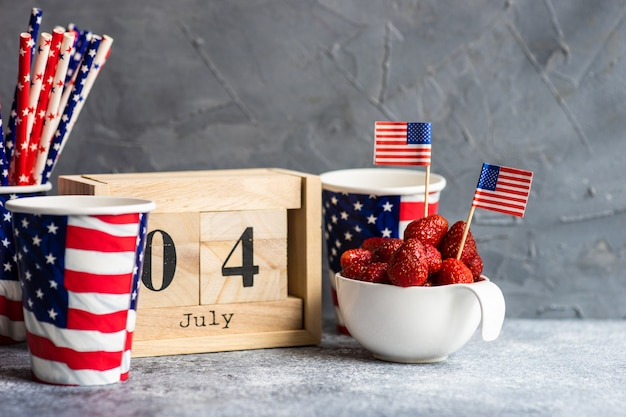 4th of july wooden blocked calendar and strawberry