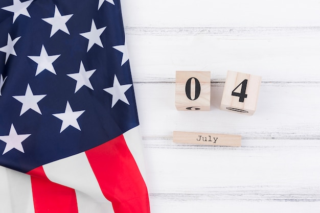 4th of july on wooden calendar