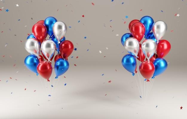 独立記念日。 3dイラストの流れ星と風船