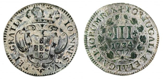 ポルトガルの古代銅貨。ポルトガルの王ヨアンネス5世の3つのレイス。