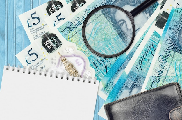 5 british pounds bills and magnifying glass with black purse and notepad. concept of counterfeit money.