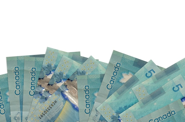 5 canadian dollars bills lies on bottom side of screen isolated  . background banner template for business concepts with money