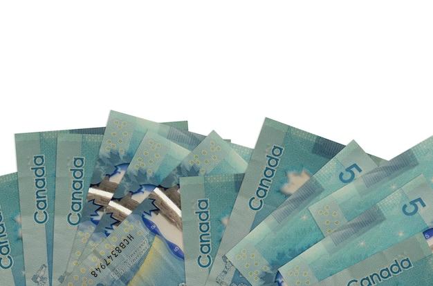5 캐나다 달러 지폐 복사 공간 흰 벽에 고립 된 화면의 아래쪽에 놓여 있습니다.
