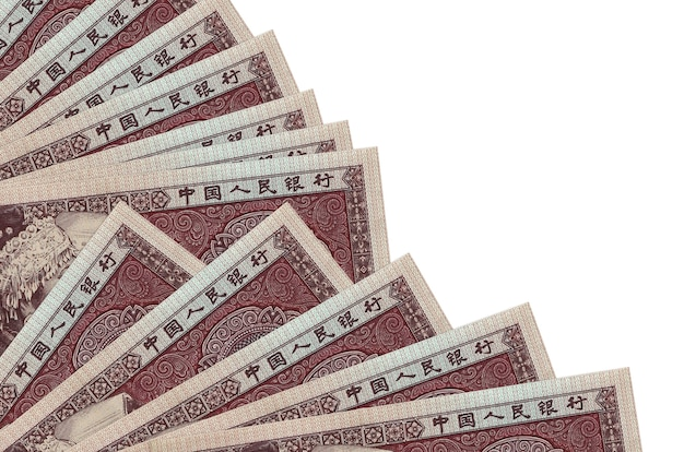 5 chinese yuan bills lies isolated background