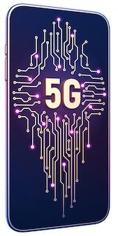 5 gのシンボルと画面上の回路基板を持つスマートフォン。テクノロジーの5gインターネットコンセプト