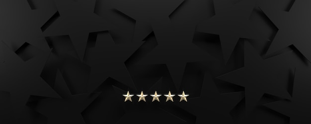 5 gold stars on a black starry background, luxury and rating concept. Premium Photo