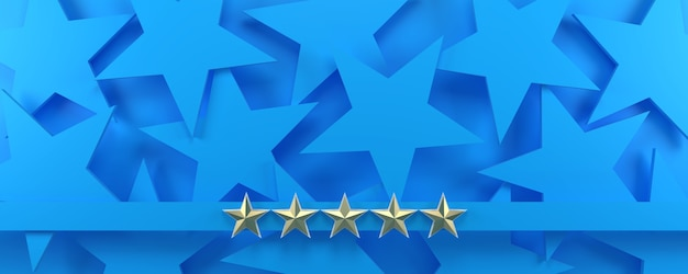 青い星空の部屋に5つの金の星