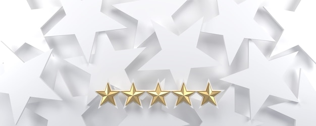 5 gold stars on a white starry background, luxury and rating concept.
