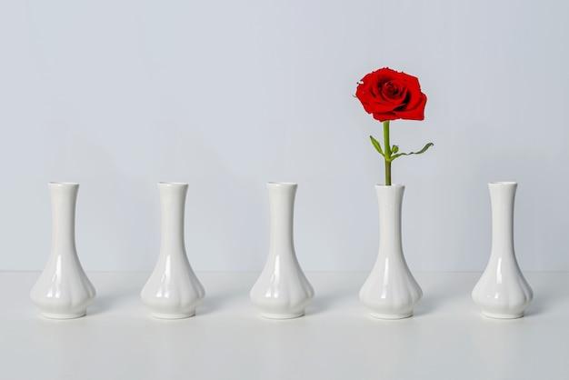 5つの同一の白い花瓶、1つの赤いバラ、残りの中で独特の品質の象徴。