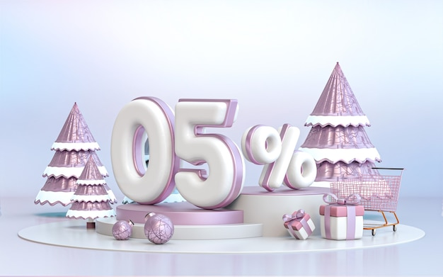 5 percent winter special offer discount background for social media promotion poster 3d rendering