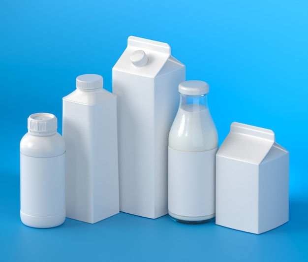 5 types of blank milk packaging on the blue surface. 3d illustration