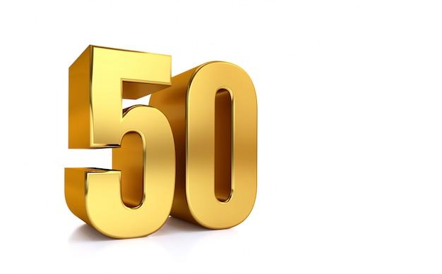 数字50、50、白い背景、3 dのレンダリングの分離