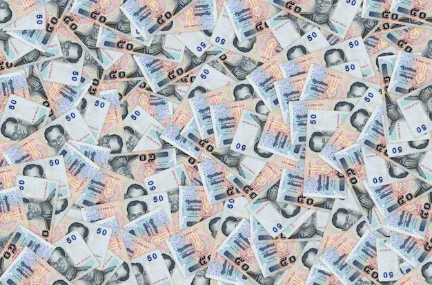 50バーツのタイの紙幣でプミポン国王adulyadejをクローズアップ
