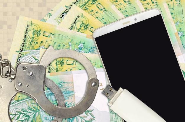 50ベラルーシルーブル手形と警察の手錠付きスマートフォン