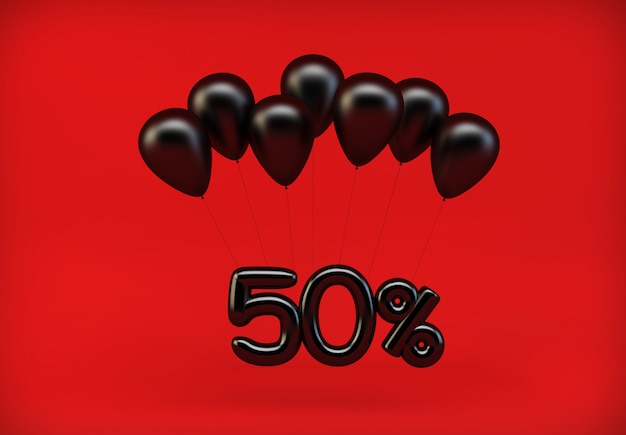 50% discount hanging from balloons