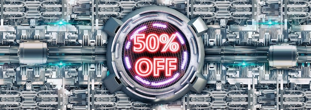 50% discount isolated on metallic surface, neon red cyber promotional stamp and technology electronic products.