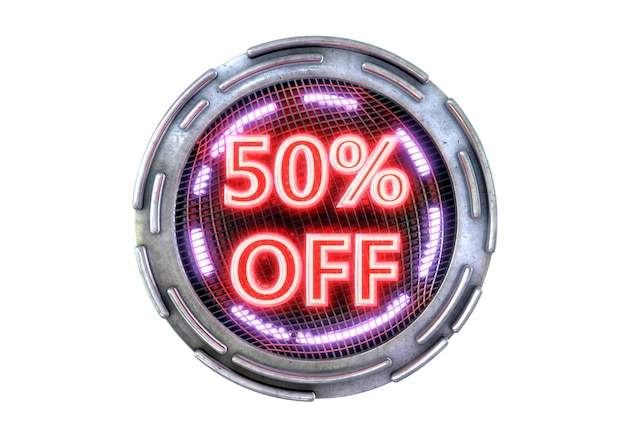 50% discount isolated on white surface, metallic neon red cyber promotional stamp and technology electronic products.