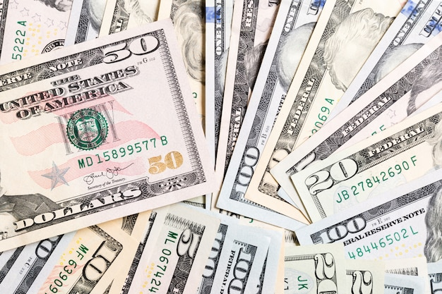 50 dollar bill on dollar banknotes