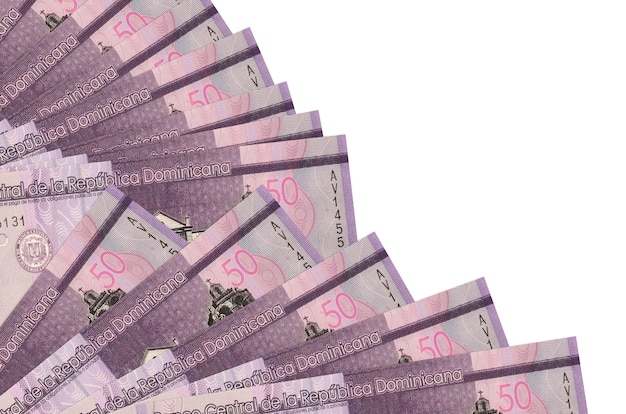50 dominican pesos bills lies isolated on white