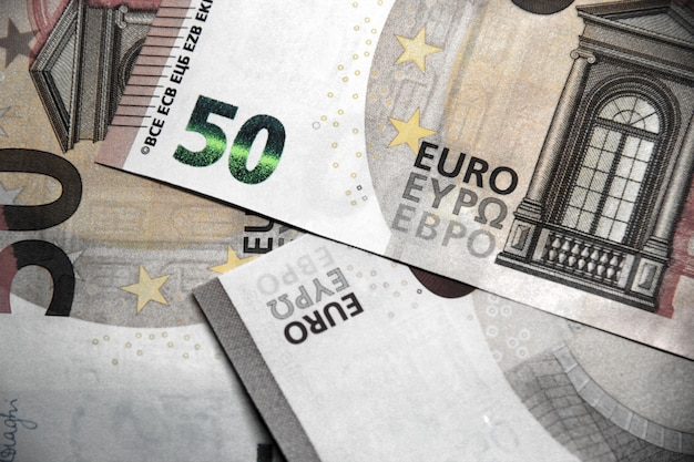 50 euro banknote background close-up