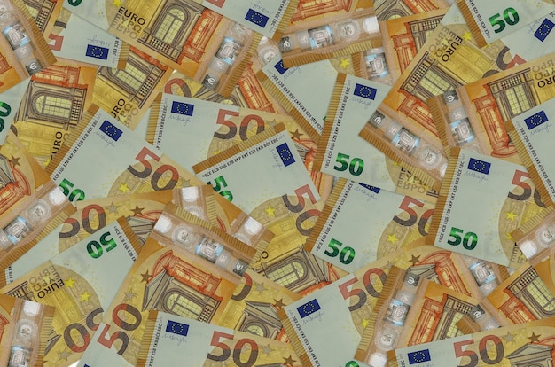 50 euro bills lies in big pile