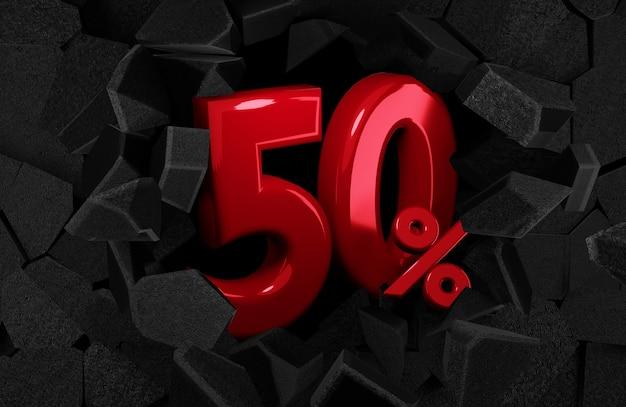 50 пятьдесят процентов распродажи идеи черной пятницы в 3d рендеринге