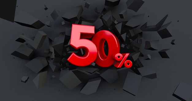 50 fifty percent sale. black friday idea. up to 50%