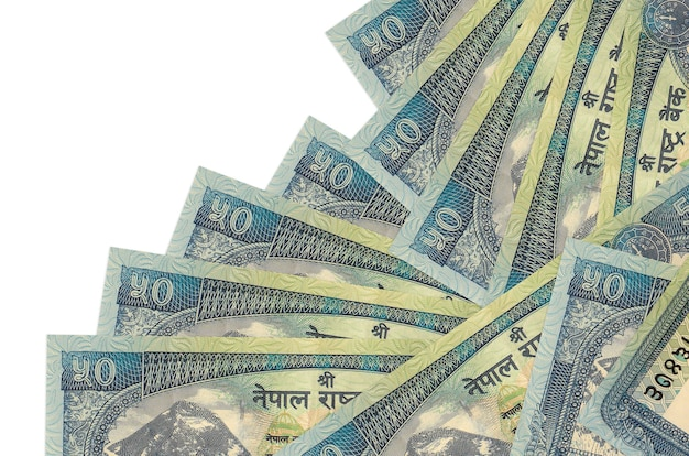 50 nepalese rupees bills lies in different order isolated on white