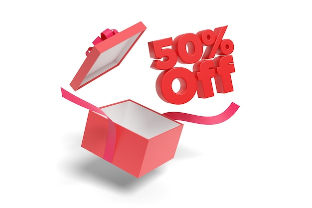 50 % off text coming out of a gift box isolated on a white background.