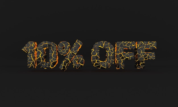 50 off word broken sign black and yellow 3d text with cracked volcanic lava effect black friday