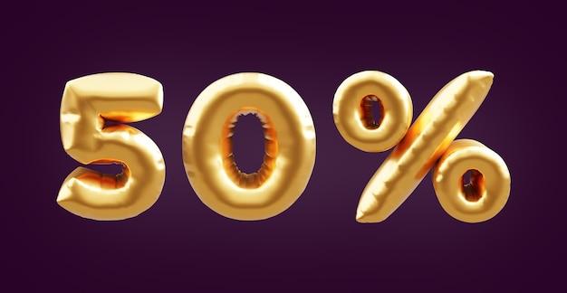 50 percent golden 3d balloon illustration. 3d golden fifty percent balloon illustration. 50% golden balloons