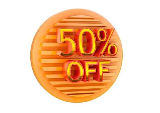 50 percent off isolated on white surface, promotional stamp for application in banner, label and tag.