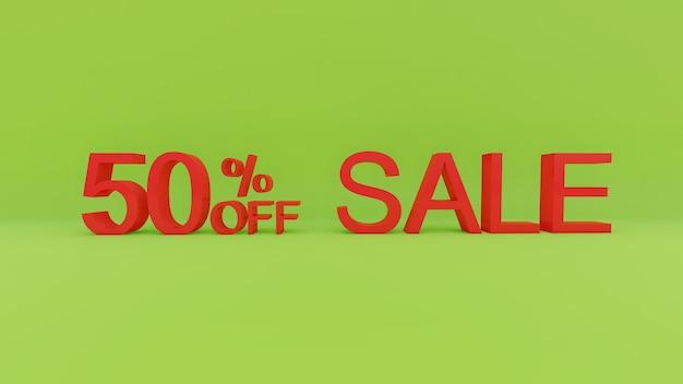 50-процентный текст продажи в 3d зеленой стене