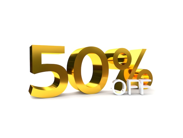 50% sale off discount. 3d golden number.