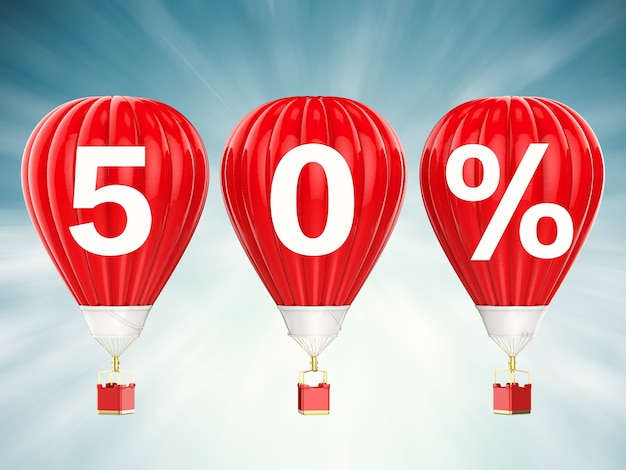 50% sale sign on 3d rendering red hot air balloons