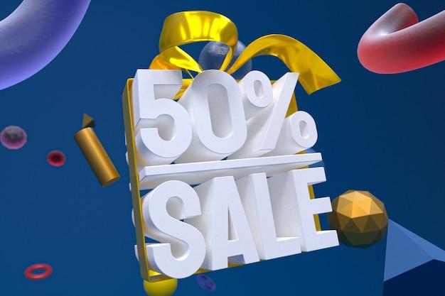 Продажа 50 с бантом и лентой 3d-дизайн на фоне абстрактной геометрии