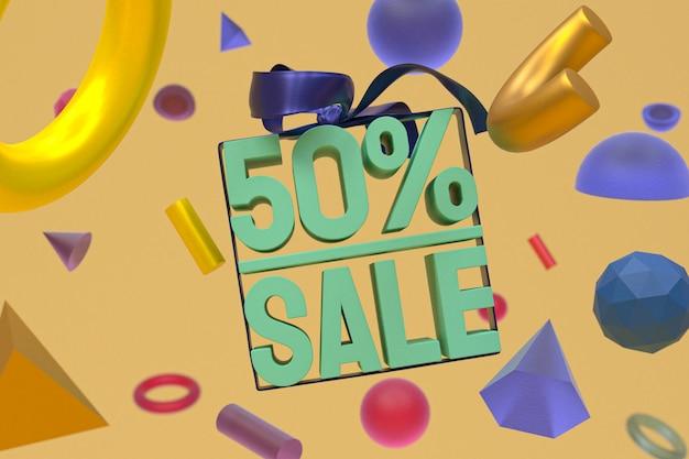 Распродажа 50% с бантом и лентой 3d-дизайн на баннере с абстрактной геометрией