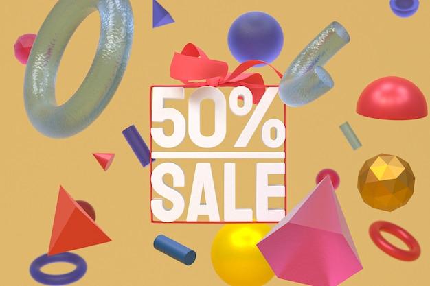 추상적 인 기하학에 활과 리본 3d 디자인으로 50 % 판매