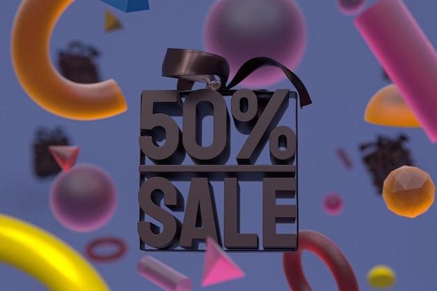 Распродажа 50 с бантом и лентой 3d дизайн на абстрактной геометрии