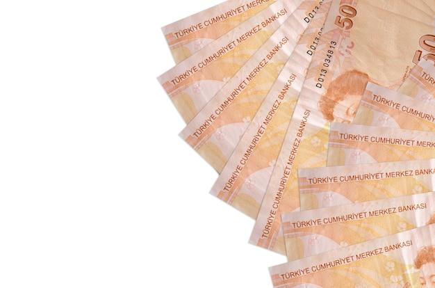 50 turkish liras bills lies isolated on white