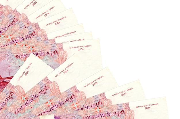 500 cambodian riels bills lies isolated on white background