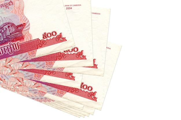 500 cambodian riels bills lies in small bunch or pack isolated on white. business and currency exchange concept