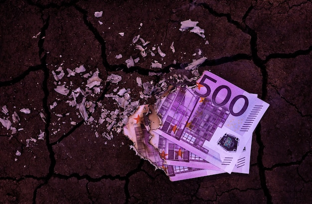 500 euro banknotes burn in the fire
