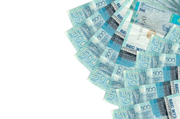 500 kazakhstani tenge bills lies isolated on white