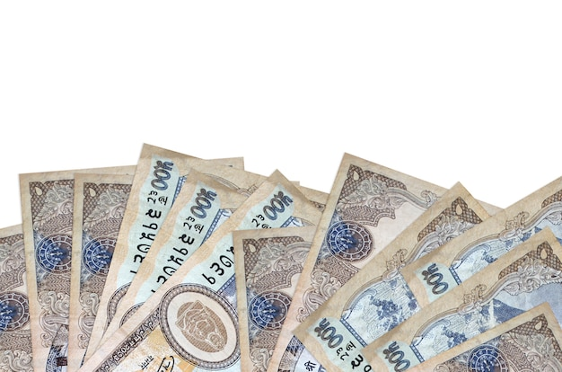 500 nepalese rupees bills lies on bottom side of screen isolated on white background with copy space