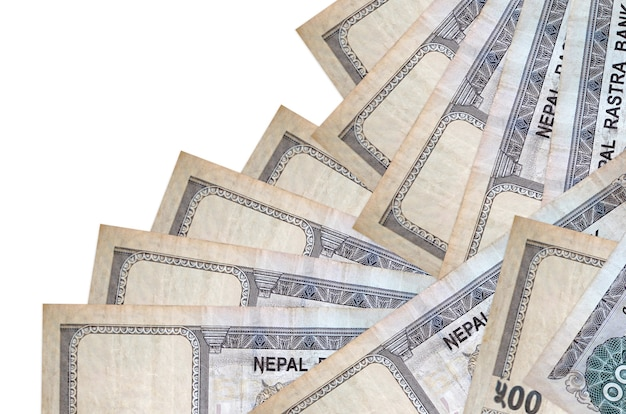 500 nepalese rupees bills lies in different order isolated on white. local banking or money making concept. business wall banner