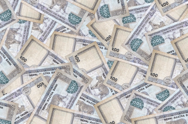 500ネパールルピーの請求書は大きな山にあります。豊かな生活の概念的な背景。巨額