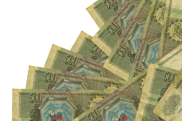500 russian rubles bills lies in different order isolated on white. local banking or money making concept.