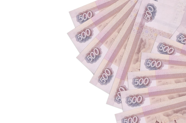 500 russian rubles bills lies isolated on white