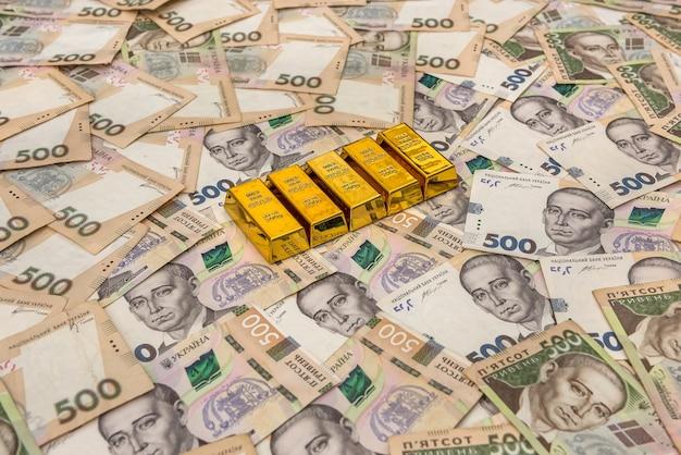 금으로 500 uah 우크라이나 돈. 개념을 저장하십시오.